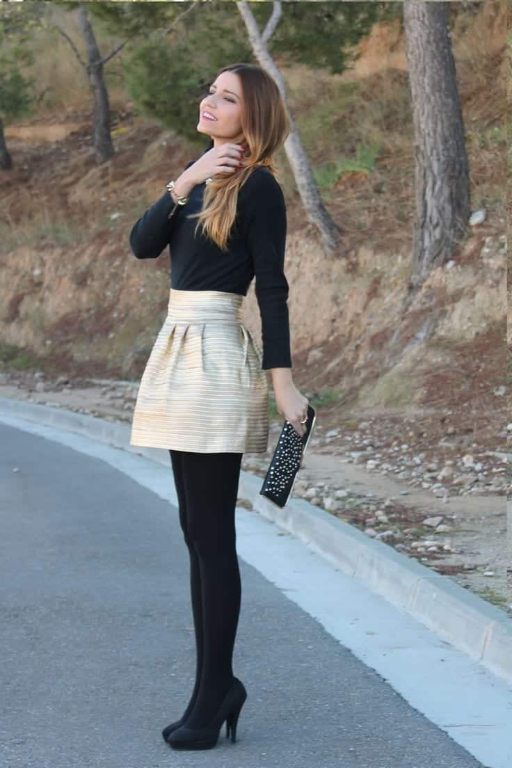 b6 Outfits with Black Tights-20 Ways to Wear Black Tights