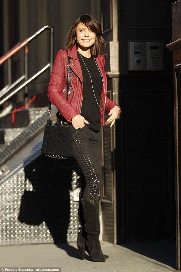 bethenny-frankel-red-leather-jacket-outfit Outfits with Leather Jacket-19 Ways to Style Leather Jacket