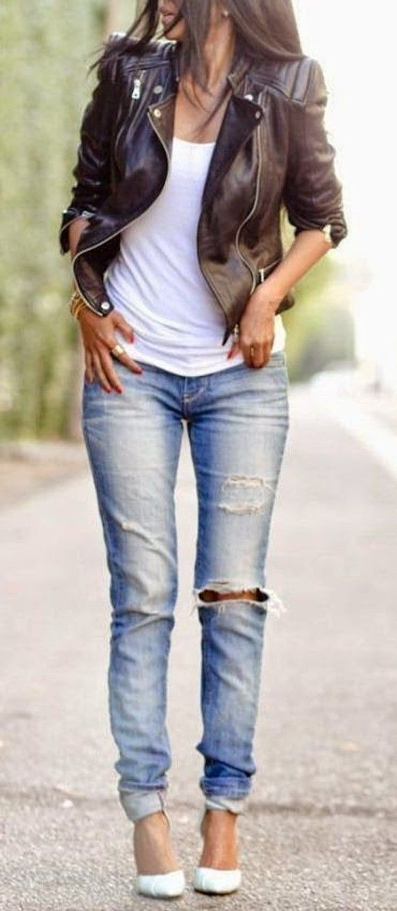 leather jacket outfits for girls (8)