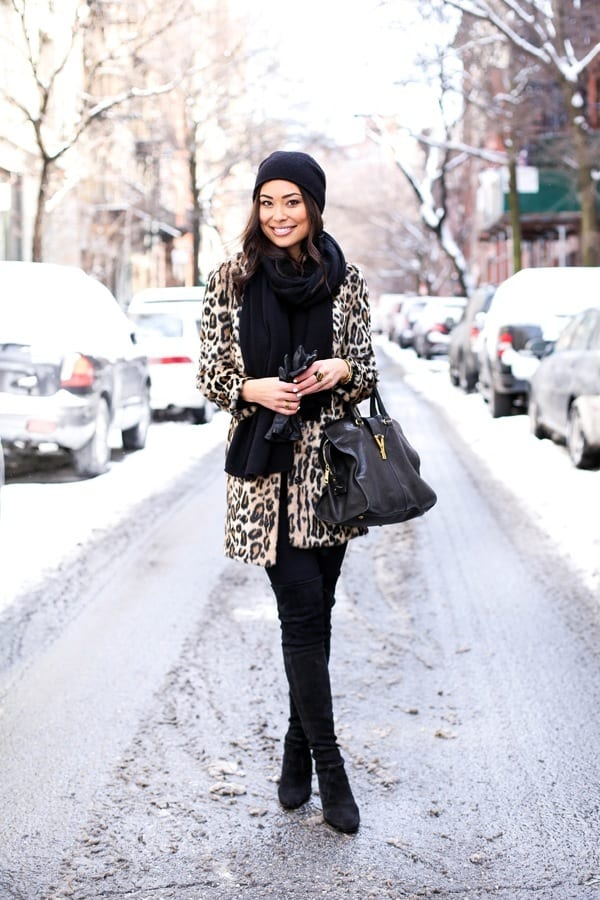 leopard-coat-with-beanie1-1 Outfits with Leopard coats-20 Ideas to Style Leopard Print Coats
