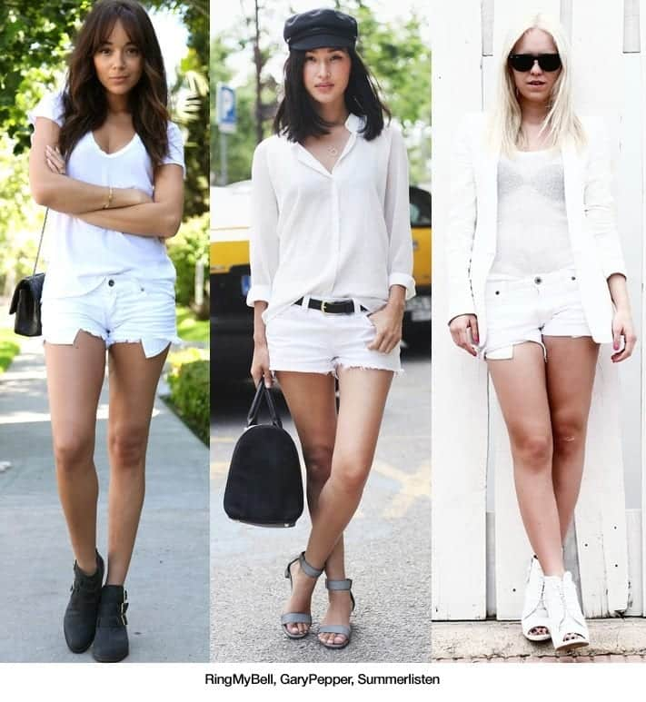 plain all white outfits with shorts black