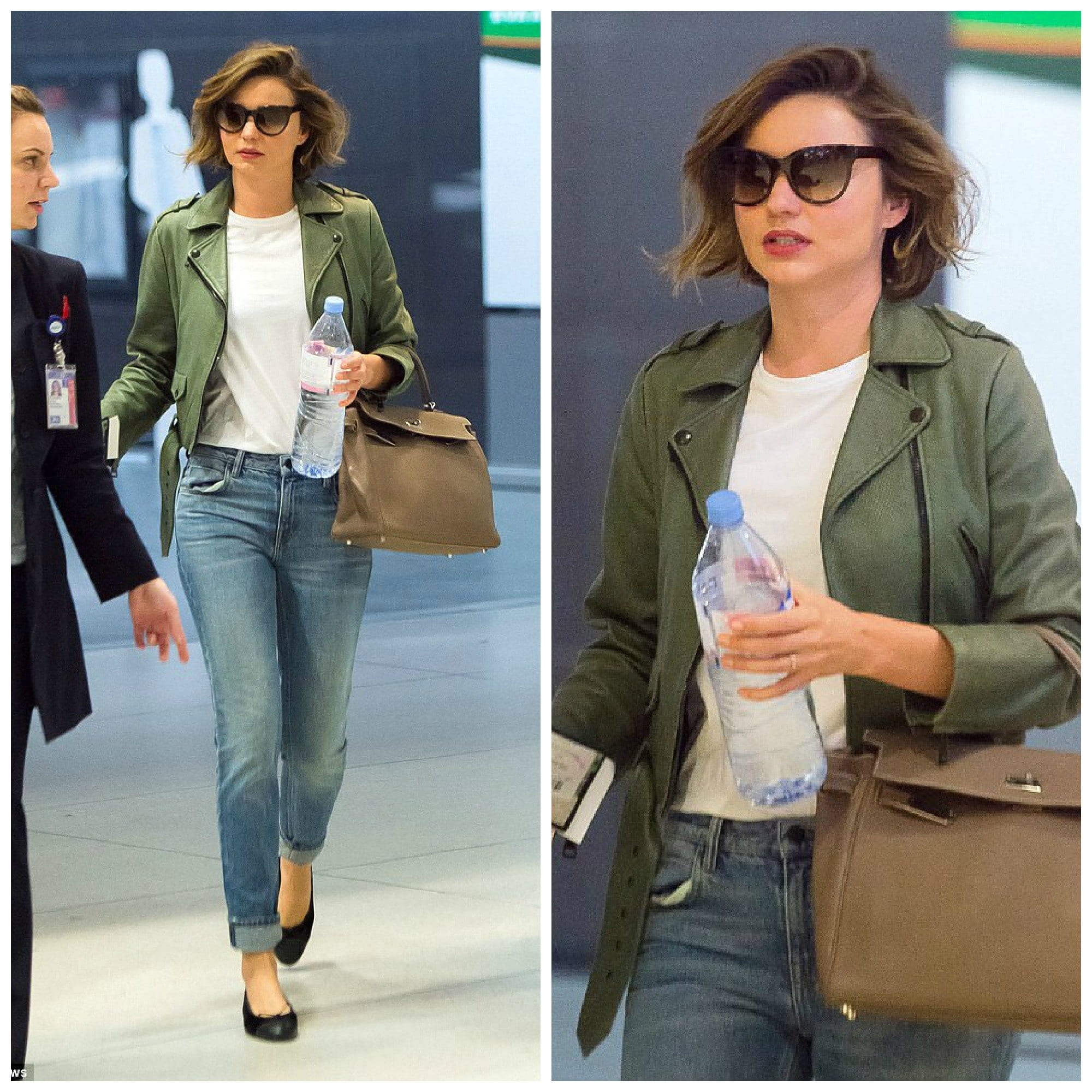 miranda-kerr-green-leather-jacket-outfit Outfits with Leather Jacket-19 Ways to Style Leather Jacket
