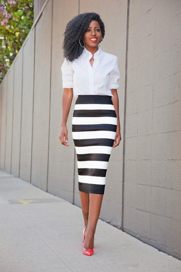 striped-pencil-skirt-outfit-idea Outfits with Pencil Skirt-40 Best Ways to Wear Pencil Skirts