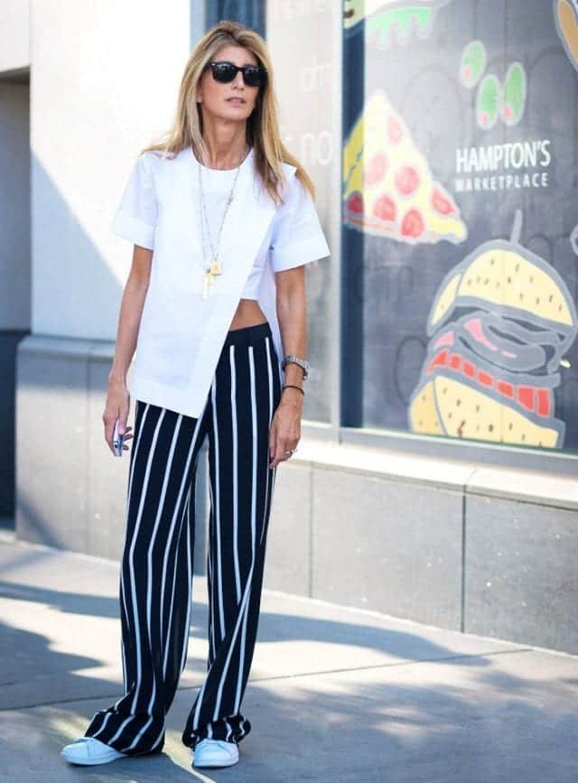 striped-printed-pants Printed Pants Outfits-17 Ideas On How To Wear Printed Pants