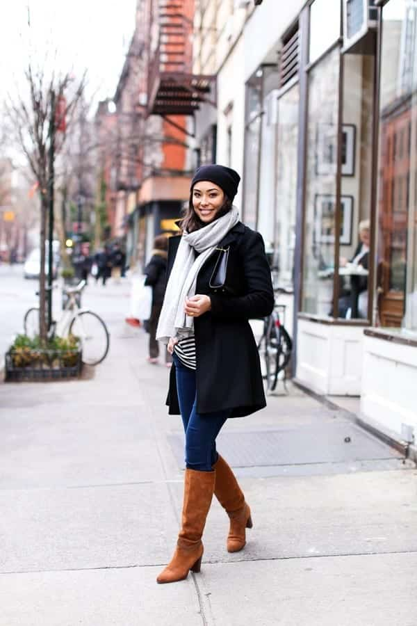 brown-suede-boots Cozy Winter Outfit Idea-20 Cute and Warm Outfits for Winters