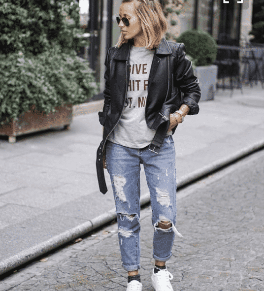 sprty-ripped-jeans-leather-jacket-outfit-for-school 19 Cute Sporty Style Outfits for School Every Girl Must Try