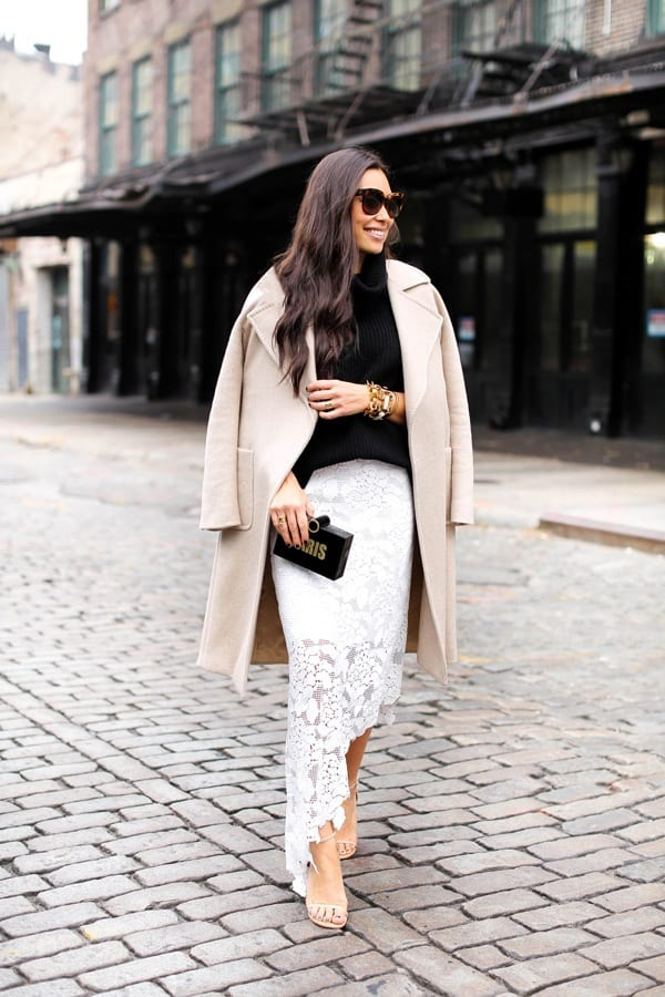 white-lace-skirt Cozy Winter Outfit Idea-20 Cute and Warm Outfits for Winters