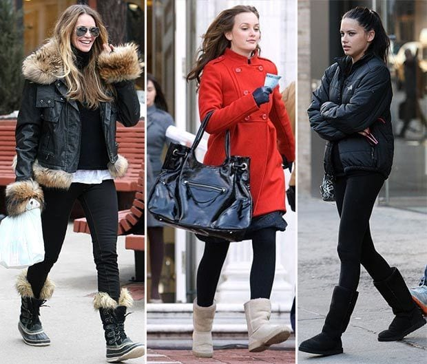 Cotton-Bowknot-Snow-Boots-4 Outfits with Snow Boots-20 Ways to Wear Snow Shoes in Winter