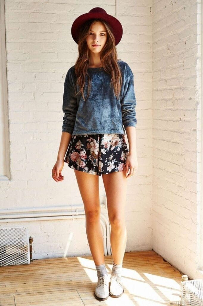 FLORAL-10-1-682x1024 Outfits with Floral Shorts - 40 Ways to Style Floral Shorts