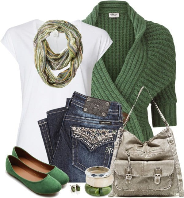 Green-Wrap-Cardigan-Casual-St-Patrick-Outfit-Bmodish 40 Ideas to Make Your Own Casual Outfit When Nothing to Wear