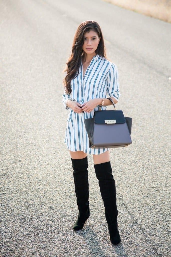 Shirt-Dress-and-Thigh-High-Boots-683x1024 Shirt Dress Outfits-27 Ways to Wear Shirt Dress in Different Ways