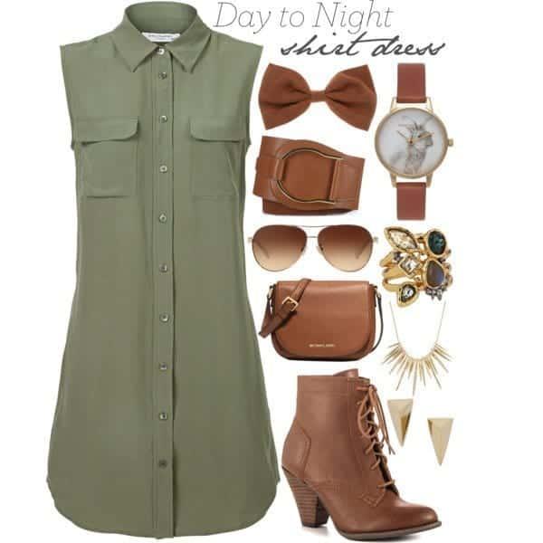 shirt-dreesse-22 Shirt Dress Outfits-27 Ways to Wear Shirt Dress in Different Ways