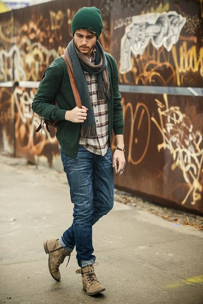 cardigan-long-sleeve-shirt-jeans-boots-backpack-beanie-scarf-original-3770-684x1024 Cardigan Outfits for Guys-19 Ways to Wear Cardigans Stylishly