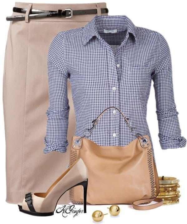cream-knee-length-skirt-with-gingham-blouse-work-outfit-bmodish Gingham Outfit Ideas-18 Ways to Wear Gingham Dresses Perfectly