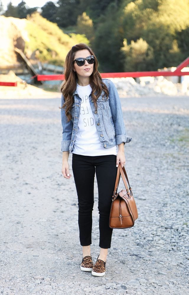 denim-jacket-and-cropped-leggings Outfits with Black Jeans-23 Ways to Style Black Denim Pants