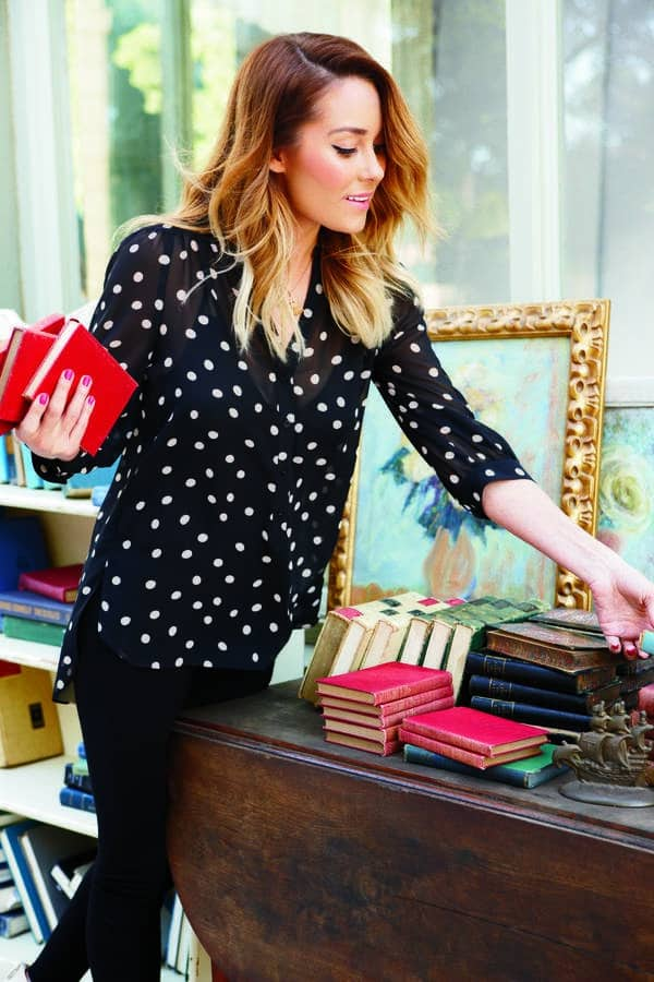 lauren-conrad-black-and-white-polka-dotted-blouse-kohls-2013-fashion-collection-beauty-and-the-beat-blog2 Outfits with Black Jeans-23 Ways to Style Black Denim Pants