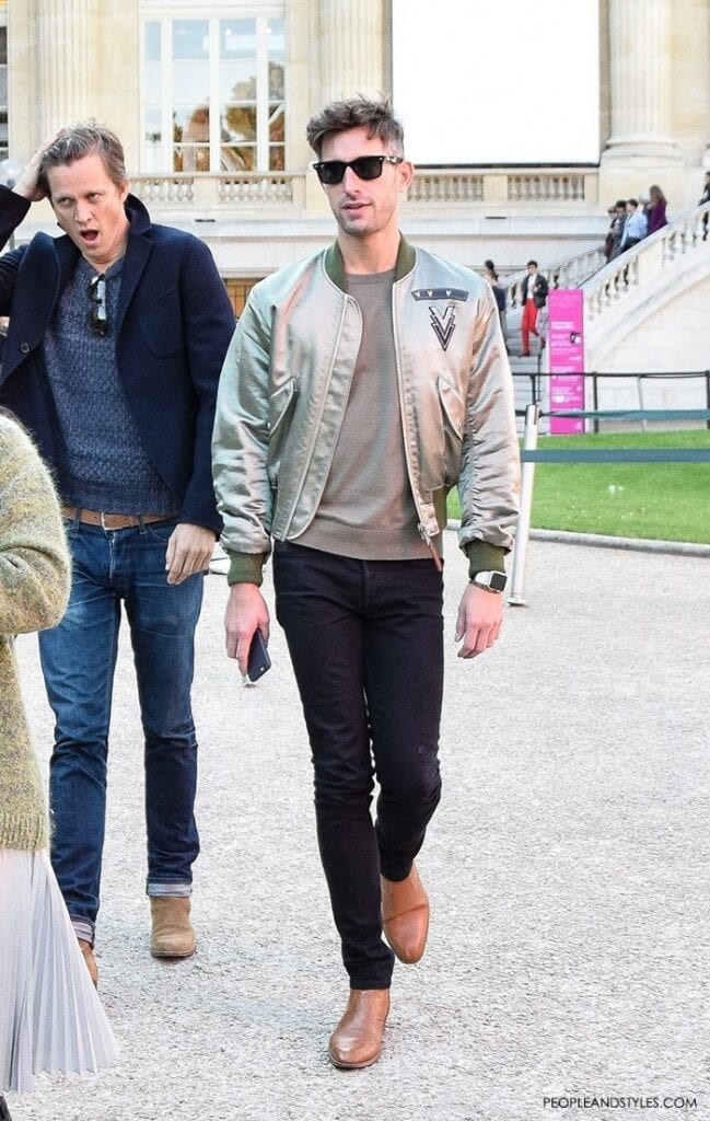 mens-fashion-bomber-jacket-casual-clothes-peopleandstyles-2-649x1024 Jacket Outfits for Guys - 24 Ways to Style Jackets Sharply