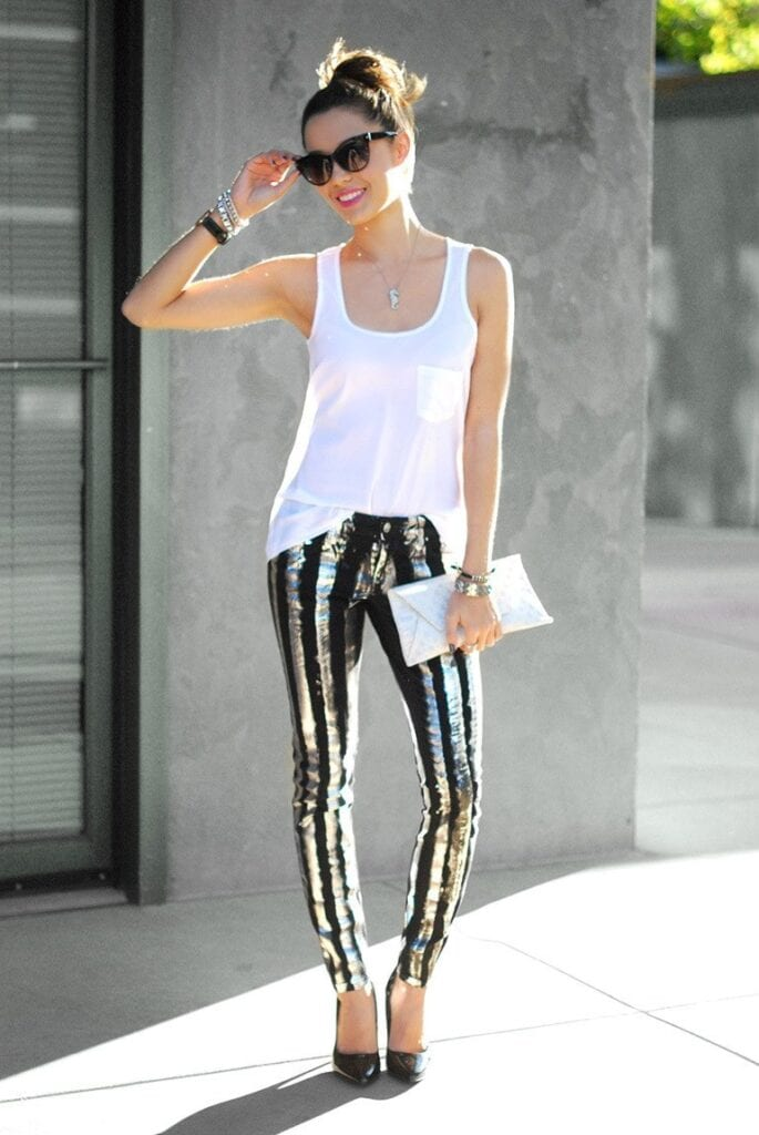 metallic-denim-685x1024 Outfits with Black Jeans-23 Ways to Style Black Denim Pants