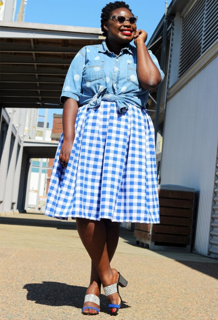 plus-size-canadian-blog-plus-style-print-skirt-gingham-01-699x1024 Gingham Outfit Ideas-18 Ways to Wear Gingham Dresses Perfectly