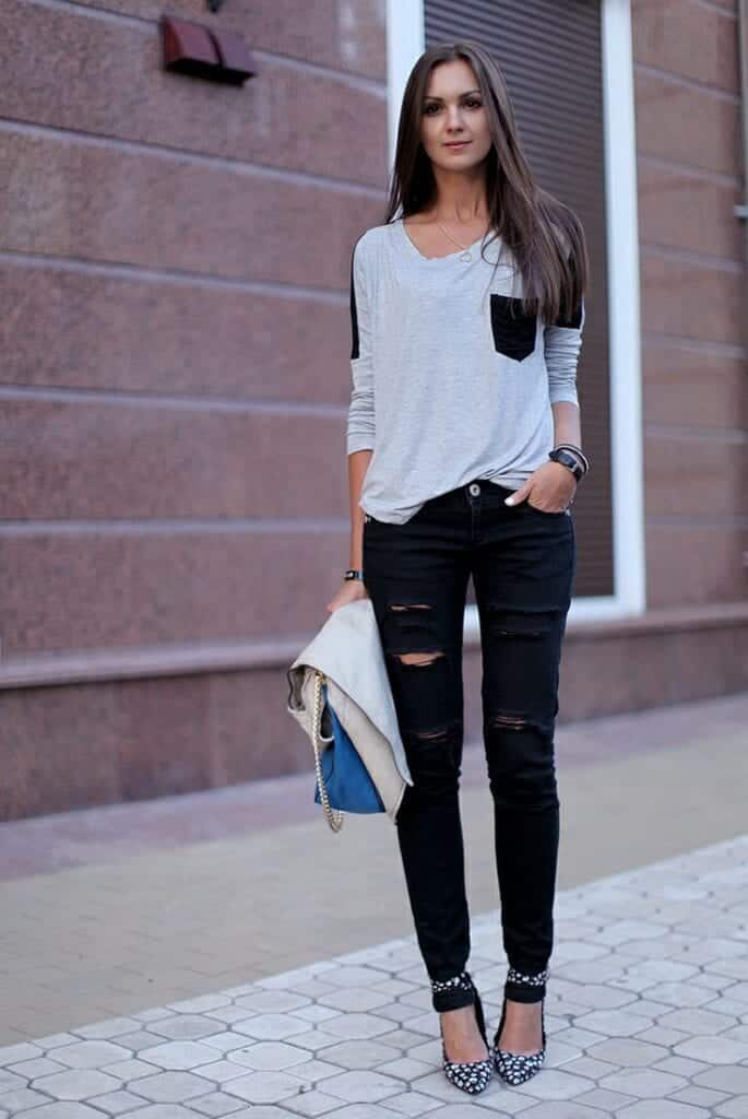ripped-black-jeans-outfit-685x1024 Outfits with Black Jeans-23 Ways to Style Black Denim Pants