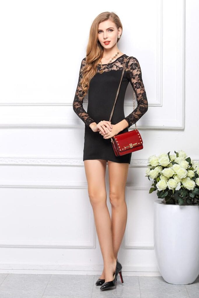 sexy-women-black-lace-dress-long-sleeves-683x1024 How To Wear Mini Dresses? 23 Great Ways To Wear Mini Dresses