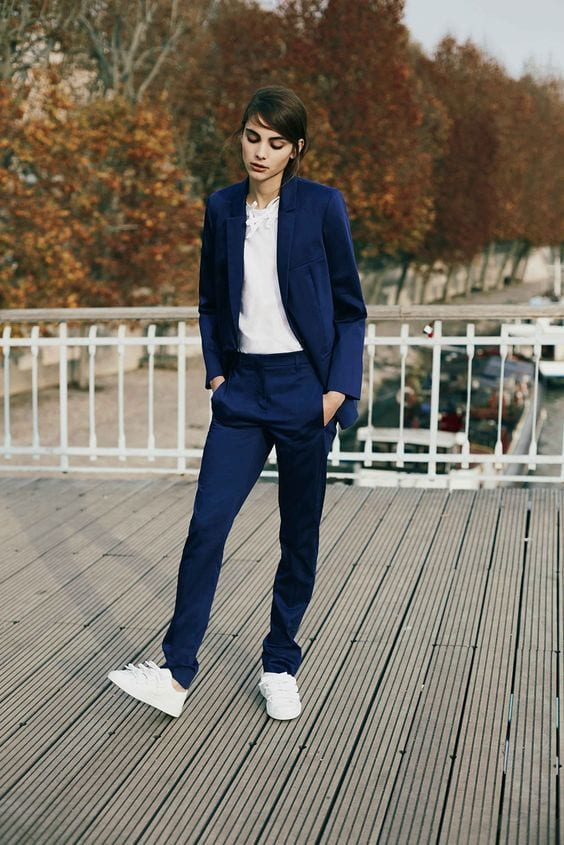 0d036eb7957b1e44409ee04efcd4bc30 Womens' Suits With Sneakers - 27 Ways To Style Suits With Sneakers
