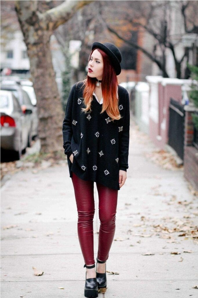3.-leather-trousers-with-sweater-and-choker-683x1024 Grunge Style Clothes-20 Outfit Ideas for Perfect Grunge Look