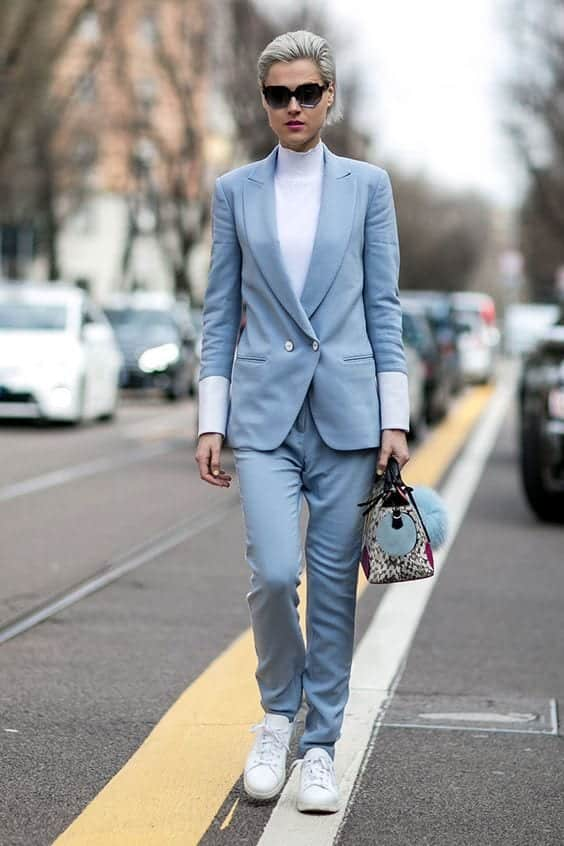 4bc19738f868f5865033ed2825fcb92c Womens' Suits With Sneakers - 27 Ways To Style Suits With Sneakers