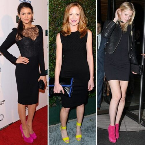 Black-Dress-Neon-Shoes-500x500 Neon Outfits for Women-16 Latest Neon Fashion Trends to Follow