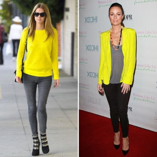 Nicky-Hilton-Neon-Yellow-Sweater-500x500 Neon Outfits for Women-16 Latest Neon Fashion Trends to Follow