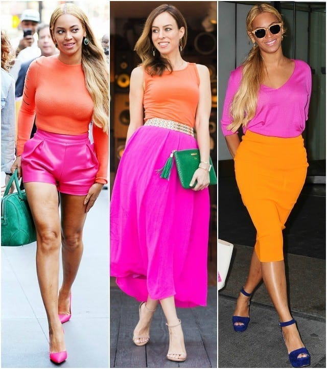 Sydne-Style-inspired-by-Beyonce-wearing-hot-pink-and-orange-color-block-fashion-trend Neon Outfits for Women-16 Latest Neon Fashion Trends to Follow