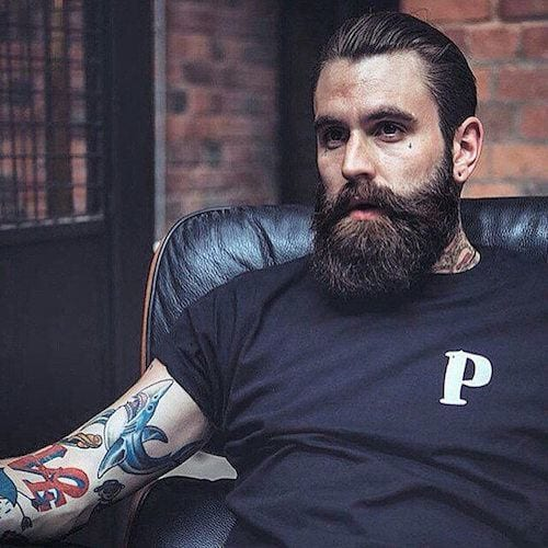 beardsaresexy_rickisamhall_slicked-back-hair-and-thick-beard Hairstyles with Beards - 20 Best Haircuts that Go with Beard