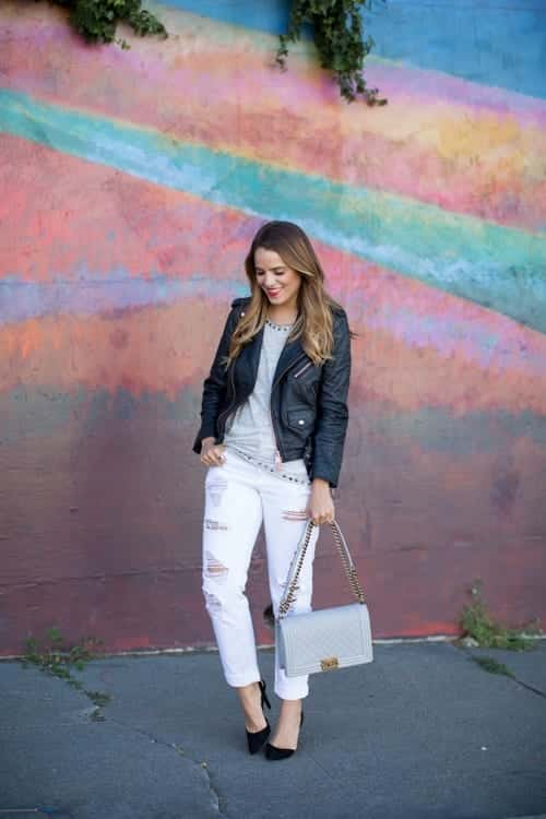 leather-spring-6 Spring Outfits with Leather Jackets-24 Latest Trends This Year