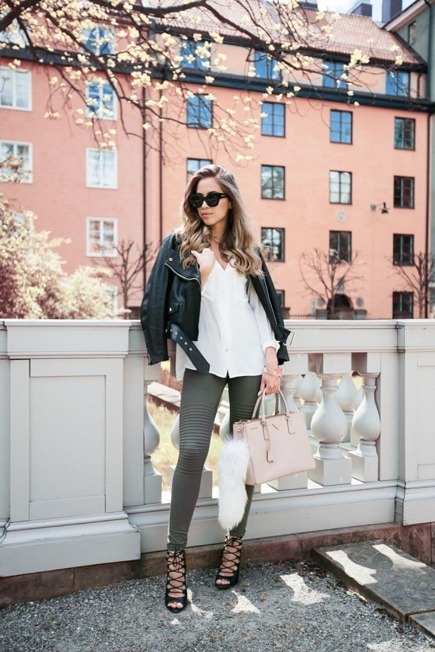 leather-spring-9 Spring Outfits with Leather Jackets-24 Latest Trends This Year