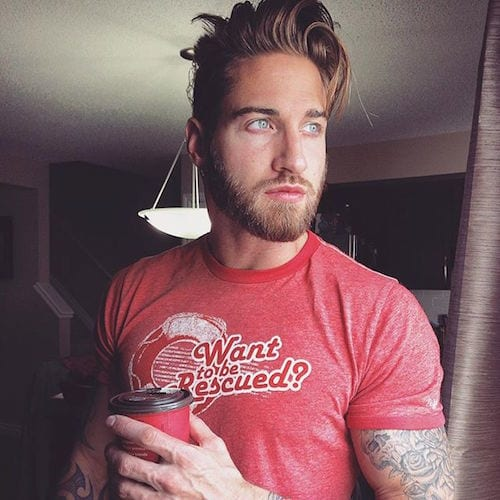 travbeachboy_short-beard-medium-loose-natural-hair-slicked-back Hairstyles with Beards - 20 Best Haircuts that Go with Beard