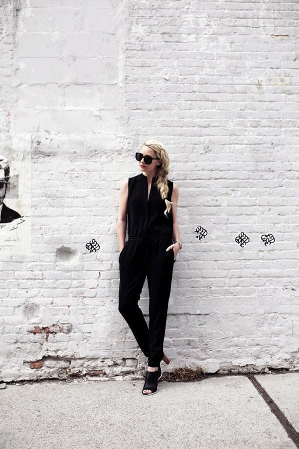 5.-mules-with-black-jumpsuit Outfits With Mules- 25 Ideas How To Wear Mules Shoes
