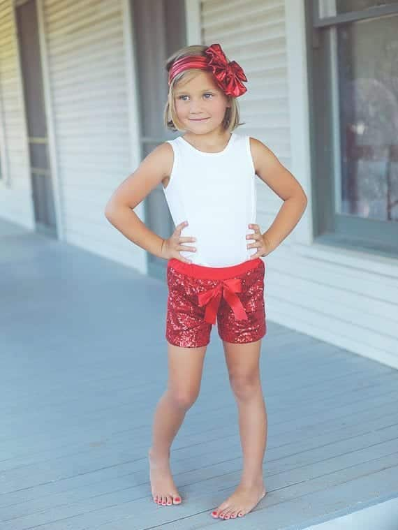 Girls-font-b-red-b-font-font-b-Sparkle-b-font-Sequin-font-b-SHORTS-b 4th of July Outfits for Kids-20 Cute Ways to Dress Up Kids on 4th July