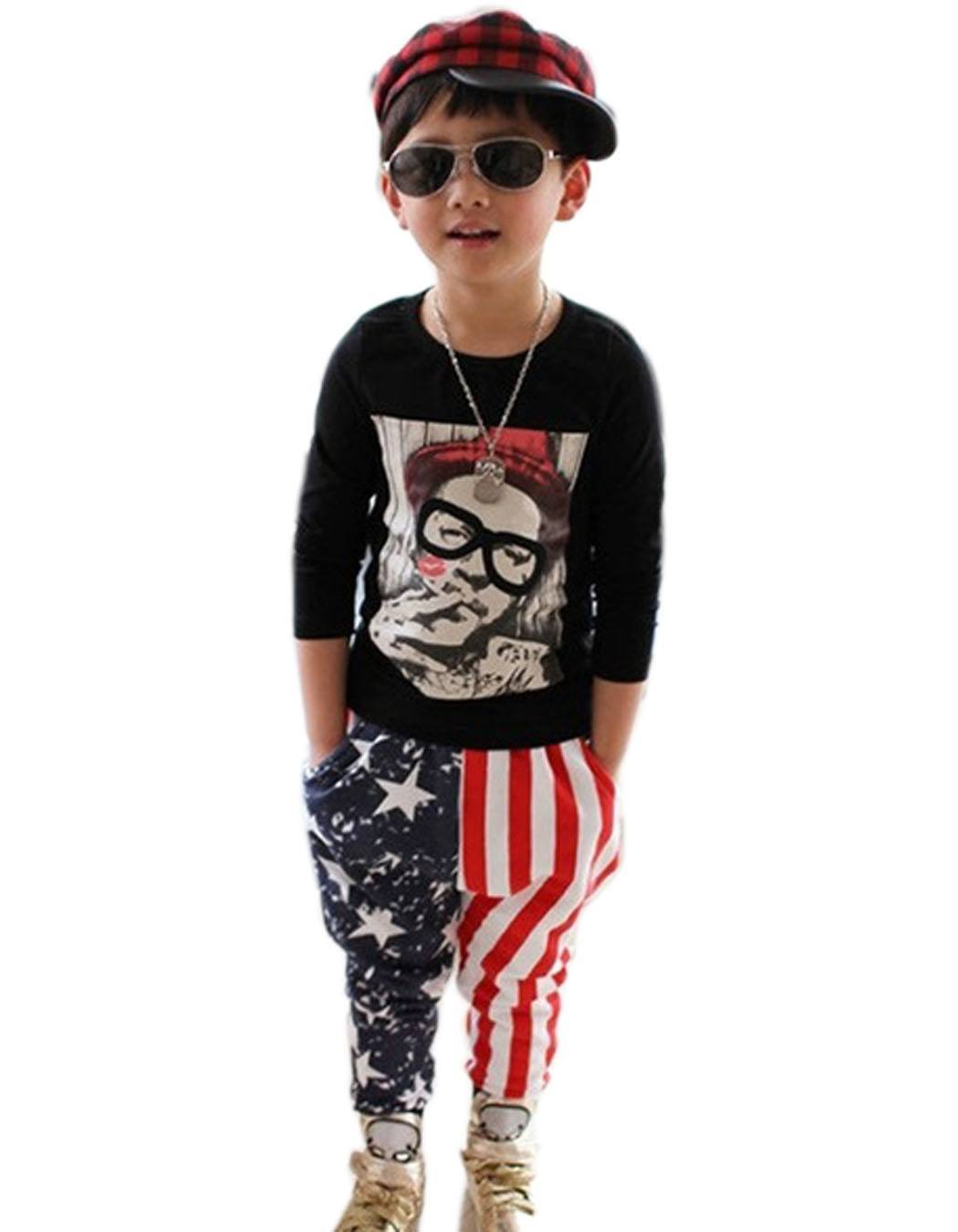 New-2015-Kids-Boy-Pants-Fashion-Elastic-Waist-Pocket-Stripped-Star-Print-Patchwork-Pants-3-11Y 4th of July Outfits for Kids-20 Cute Ways to Dress Up Kids on 4th July