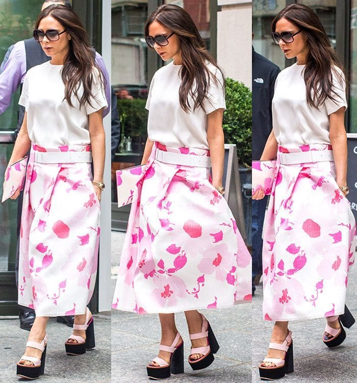 Victoria-Beckham-white-tee-pink-floral-skirt-platform-sandals 20 Ideas How to Style Floral Skirts This Spring/Summer