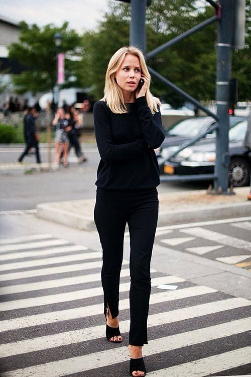 all-black-mules-elin-kling-via-theyallhateus Outfits With Mules- 25 Ideas How To Wear Mules Shoes