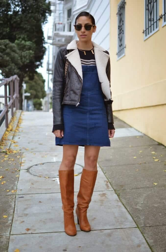 How to wear Shearling Boots - Ideas to wear Dresses with boots (6)