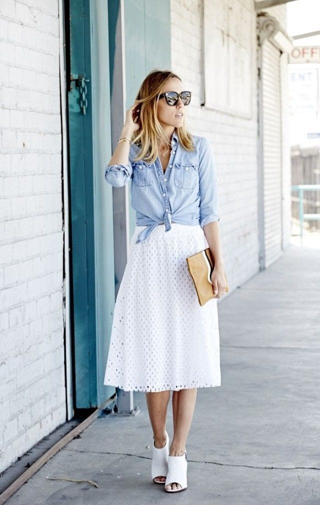 white-midi-skirt-chambray-shirt-denim-shirt-sunglasses-preppy-summer-ladylike-work-mules-via-damsel-in-dior-640x1008 Outfits With Mules- 25 Ideas How To Wear Mules Shoes