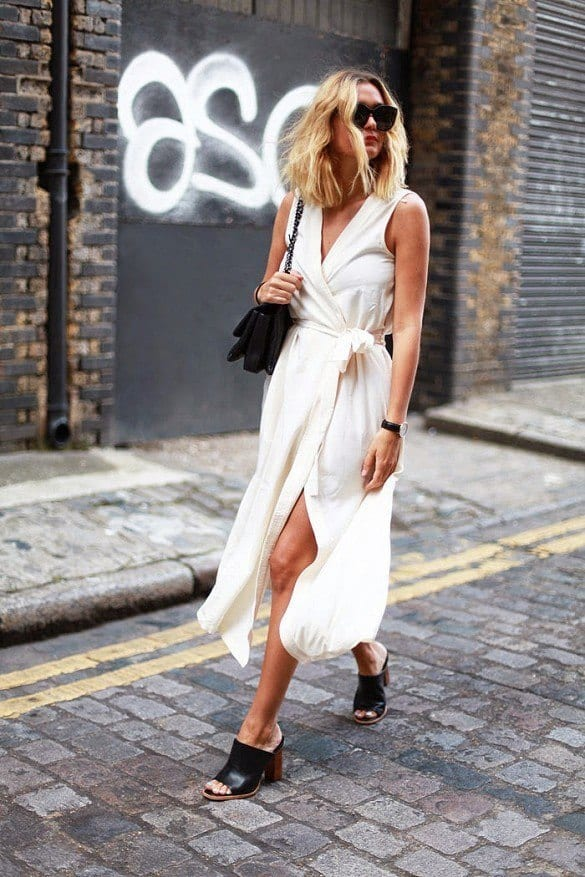 white-wrap-dress-summer-sundress-mules-black-and-white-via-adenorah Outfits With Mules- 25 Ideas How To Wear Mules Shoes