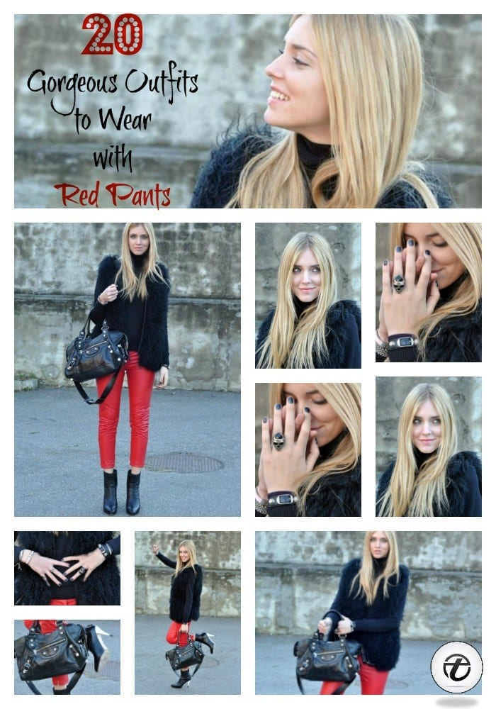 how to wear red pants for girls