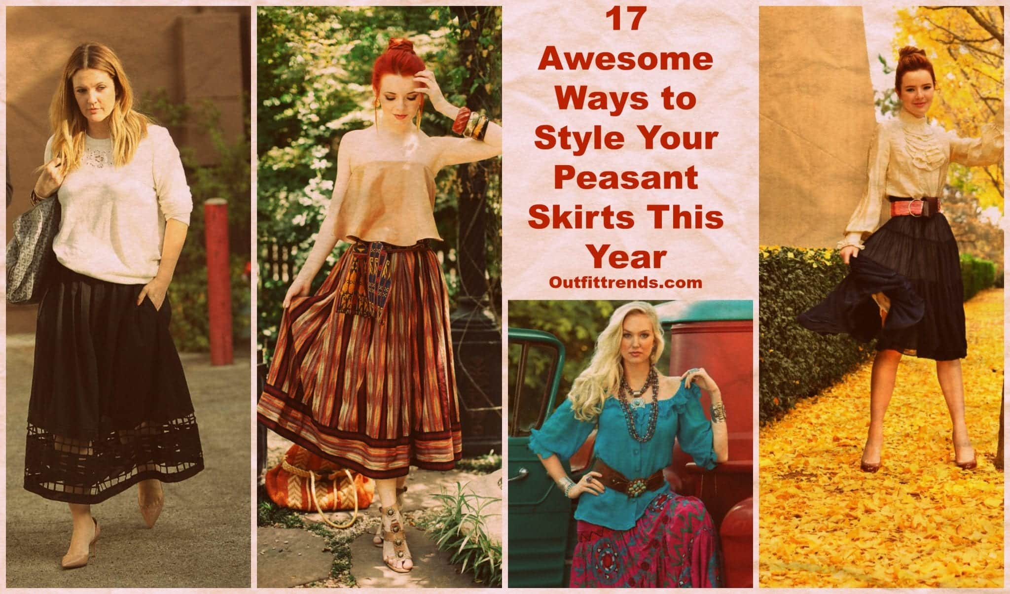 PicMonkey-Collage-11 Peasant Skirts Outfits-17 Ways to Wear Peasant Skirts Rightly