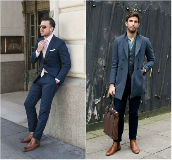 Brown-Chelsea-boot-with-blue-suit Outfits For The Short Men-20 Fashion Tips How To Look Tall