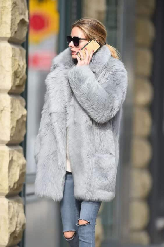 celebrity style faux fur coat