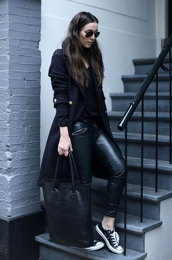 leatherpants Outfits With Converse-20 Stylish Ways to Wear Converse Shoes