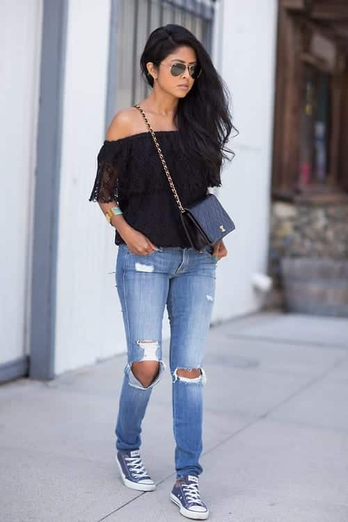 shoulderlesstop Outfits With Converse-20 Stylish Ways to Wear Converse Shoes
