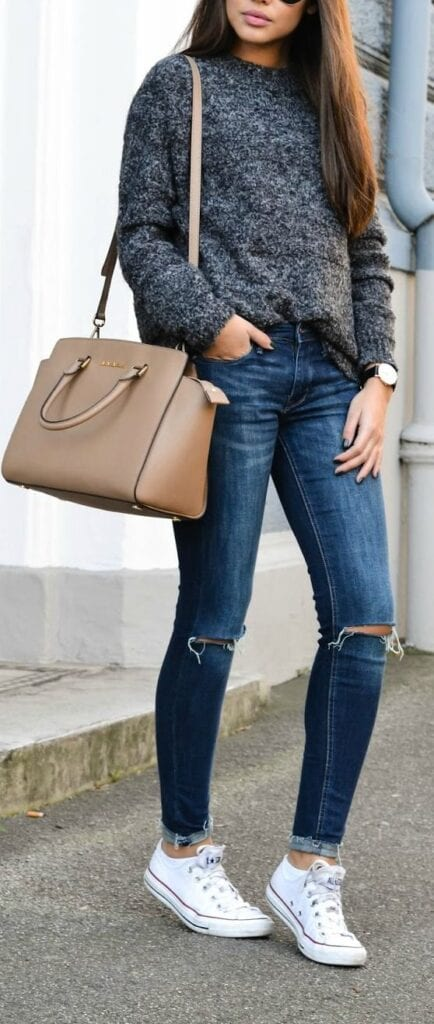 sweater-434x1024 Outfits With Converse-20 Stylish Ways to Wear Converse Shoes